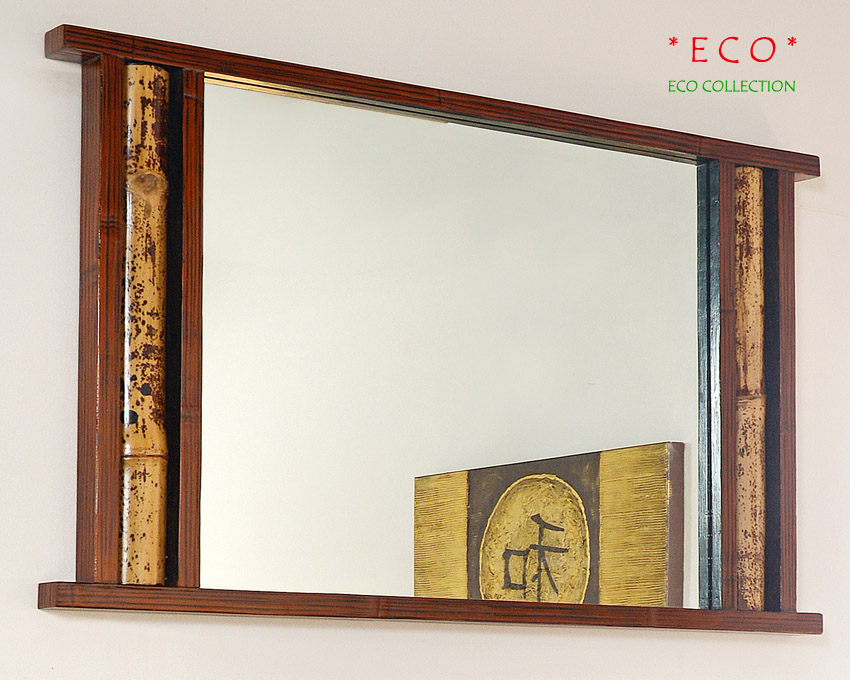 Bambusspiegel eco bambusm bel spiegel wandspiegel - Spiegel mit bambusrahmen ...