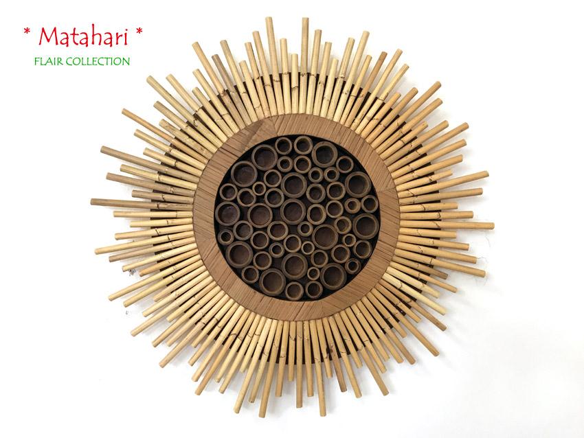 Wandbild matahari natur bambus rattan wanddeko bild for Wanddeko bambus
