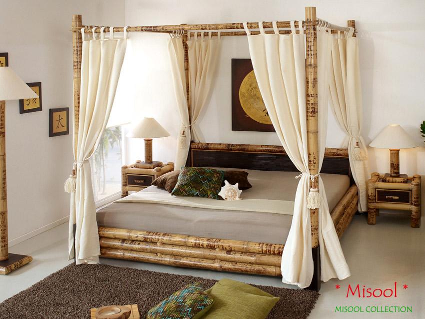 Traumhaftes Himmelbett 160x200 Bambusbett Holzbett Doppelbett Design