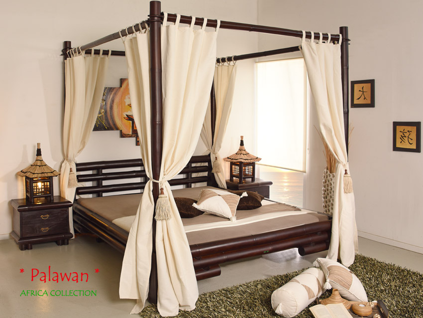 himmelbett 200x200 afrika braun bambusbett holzbett. Black Bedroom Furniture Sets. Home Design Ideas