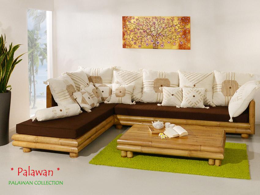 bambus sofa palawan links sitzgarnitur ecksofa couch garnitur sofagarnitur neu ebay. Black Bedroom Furniture Sets. Home Design Ideas