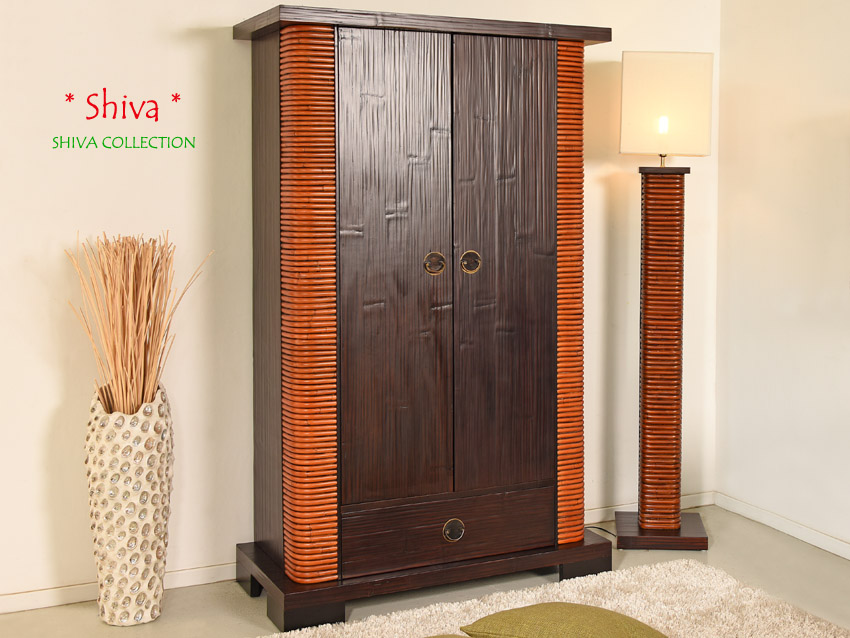 designer schrank shiva rattan bambus holzschrank kleiderschrank garderobe massiv ebay. Black Bedroom Furniture Sets. Home Design Ideas