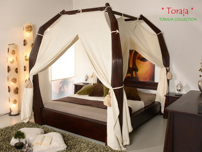 Luxus Himmelbett 140x200 Toraja Doppelbett Bambus Bett Rattan