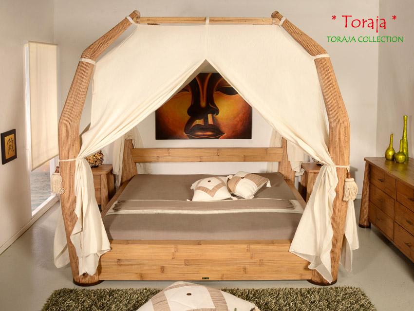 Luxus Himmelbett 200X200 Toraja Natur Doppelbett Bambus Bett