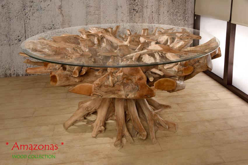 Wurzelholz Tisch 180x180 Rund Amazonas Esstisch Teak Holz Massivholz