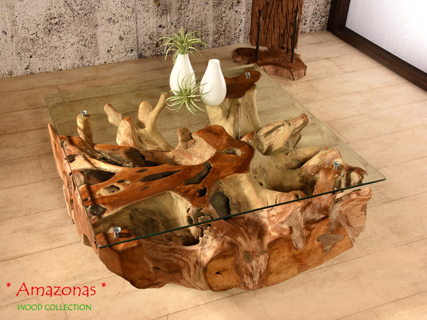 Wurzelholz Tisch 80x80 Amazonas Teak Couchtisch Wohnzimmertisch Holz