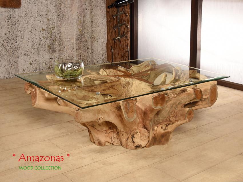 Wurzelholz Tisch Amazonas 8060 Couchtisch Wohnzimmertisch Teakholz