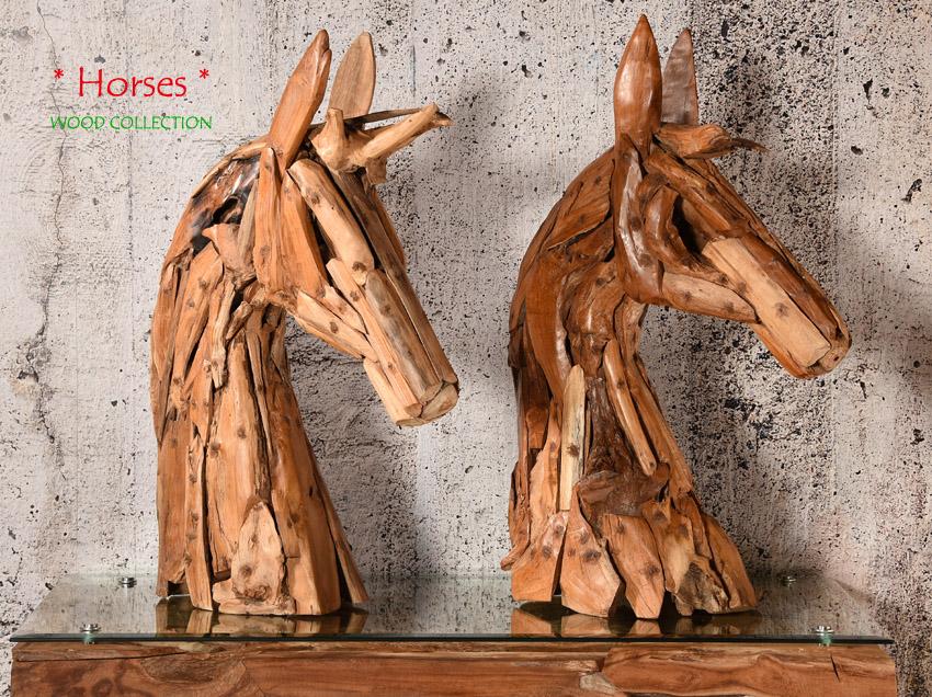 teakholz pferdekopf skulptur pferd figur statue holz deko. Black Bedroom Furniture Sets. Home Design Ideas
