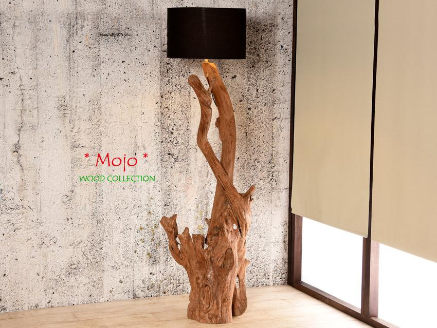 Teakholz stehlampe mojo xx wurzelholz stehleuchte for Stehlampe designklassiker