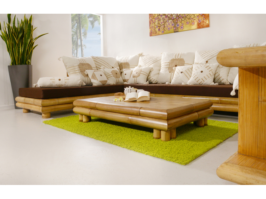 PALAWAN Eckgarnitur (Links) mit Auflagen - Bambus Sofa - Eckcouch | PALAWAN COLLECTION