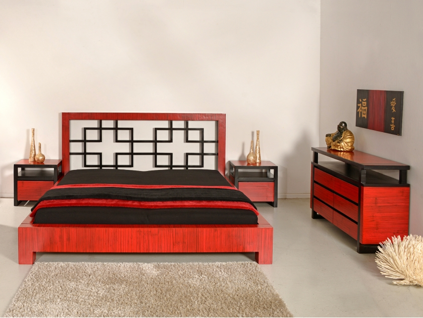 MING RED Bambusbett 180x200 | MING COLLECTION