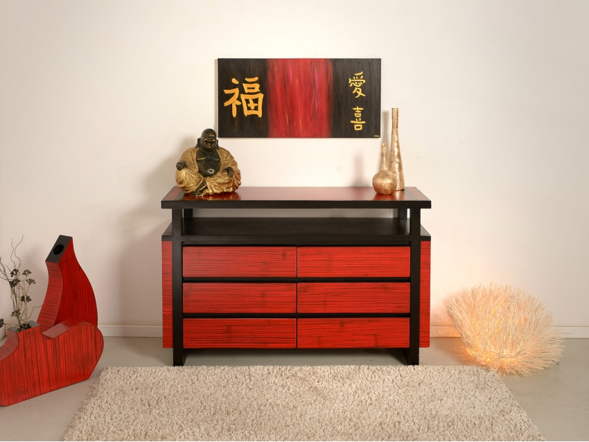 MING RED Sideboard mit 6 Schubladen | MING COLLECTION