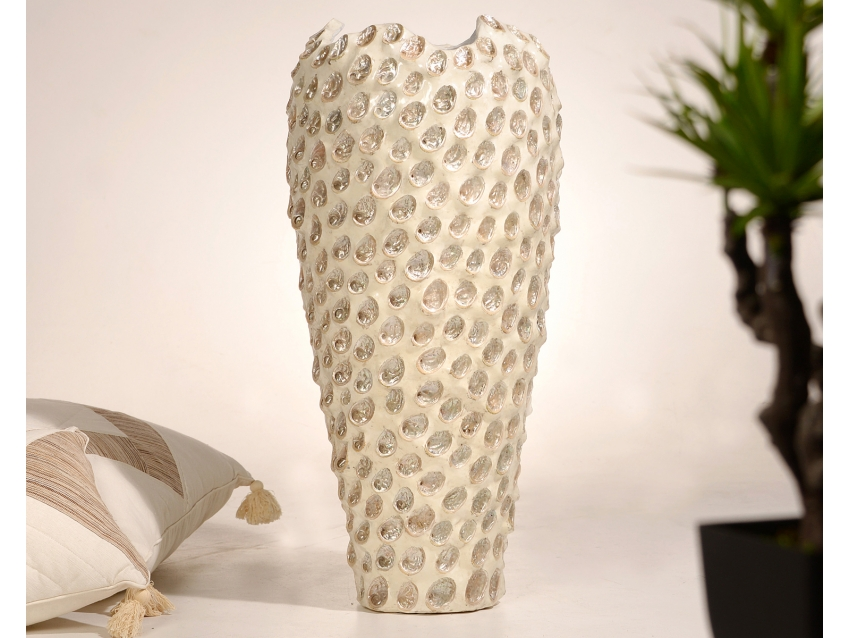 TELINGA Vase mit Perlmutt - Höhe 85 cm | SHELL COLLECTION