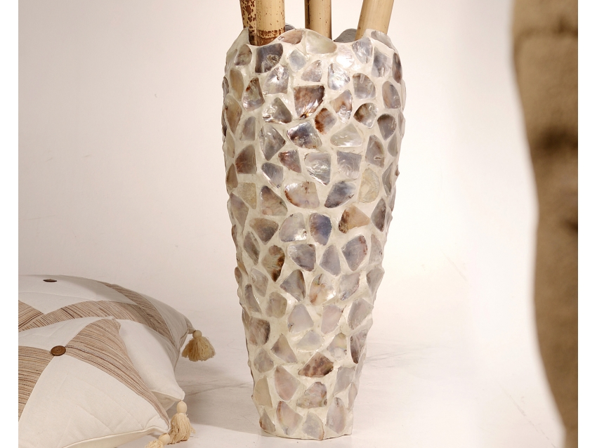 KANGAN Vase mit Perlmutt - Höhe 85 cm | SHELL COLLECTION