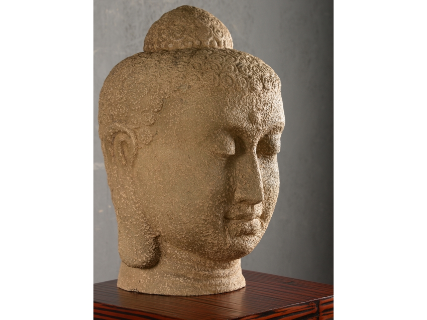 KELONG Riesiger Buddhakopf - Sandstein | FLAIR COLLECTION
