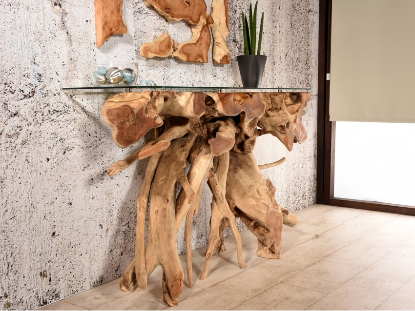 HORNOS Teak Konsole - Wurzelholz Konsolentisch mit Glasplatte - 120cm | WOOD COLLECTION