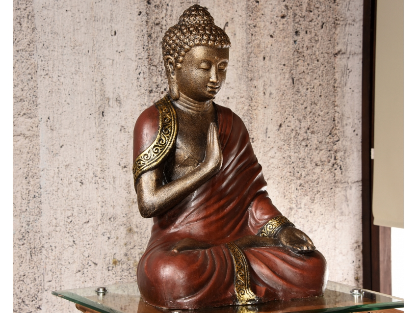 SARIPUTA Buddha im Gewand - meditierender Buddha - Antique Gold | FLAIR COLLECTION