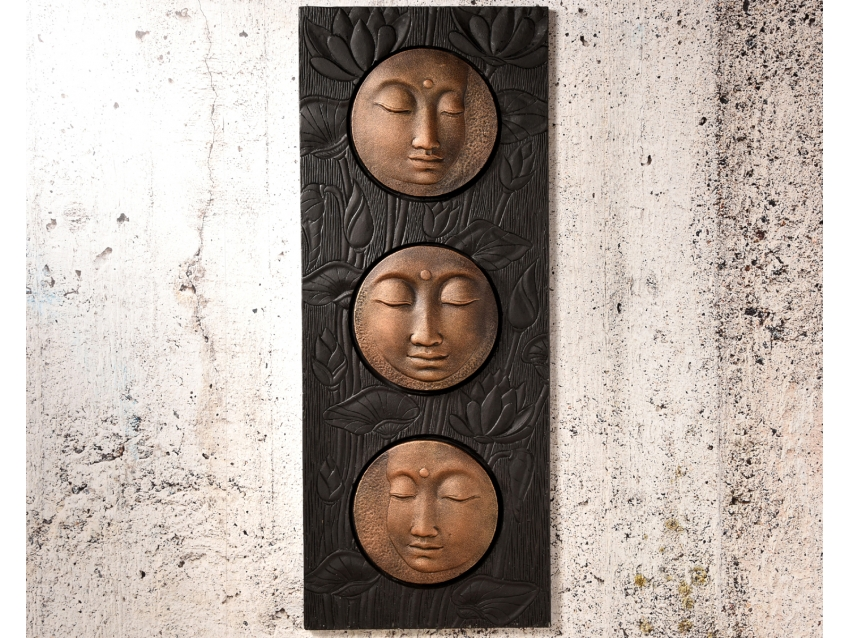 KARUNA Wandrelief mit Buddhaköpfen - Wandbild in Bronze Antique - Schwarz | FLAIR COLLECTION