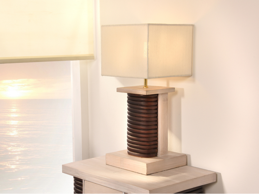 SHIVA Tischlampe - Beistelllampe Rattan Elemente | CEBU COLLECTION