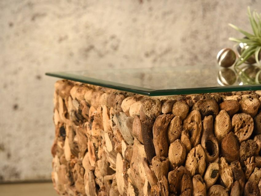MURCIA Couchtisch aus Treibholz mit Glasplatte - Sockel schwarz - 60x60    WOOD COLLECTION