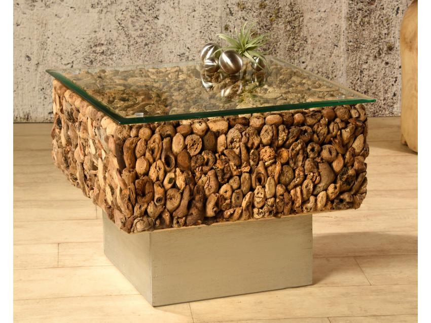 MURCIA Couchtisch aus Treibholz mit Glasplatte - Sockel silber - 60x60    WOOD COLLECTION
