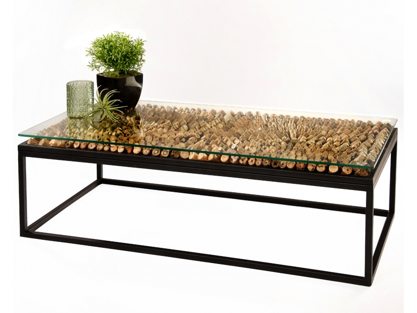 DRIFT Couchtisch mit Glasplatte aus Treibholz-Stücken auf Metall Gestell  -Rechteck 120x60xH40 cm
