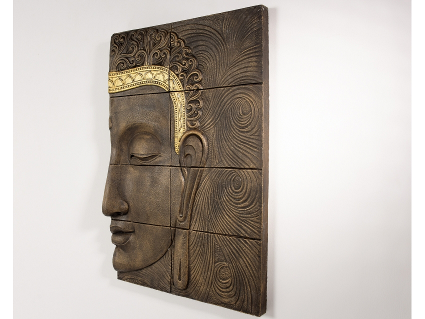 TUHAN Wandrelief mit Buddhakopf - Wandbild in 2 Teilen | FLAIR COLLECTION