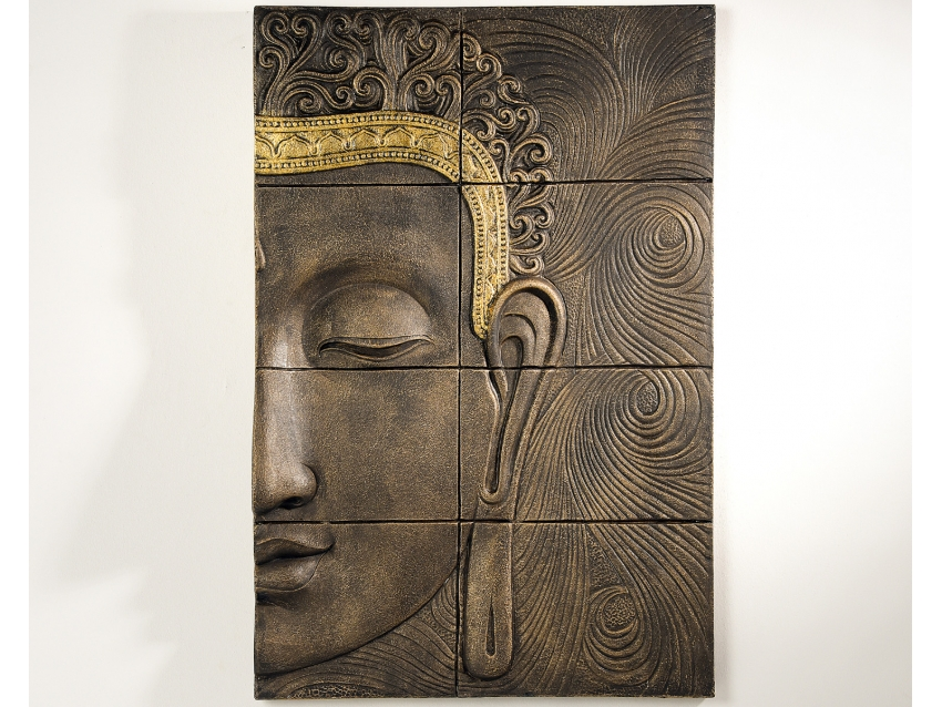 TUHAN Wandrelief mit Buddhakopf - Wandbild Rechts | FLAIR COLLECTION