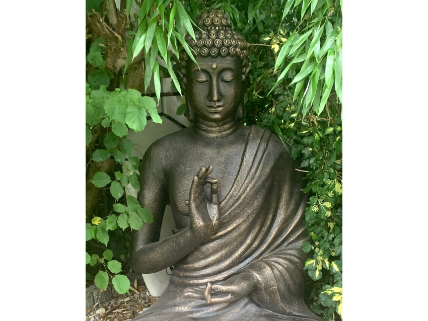 BIG BUDDHA Riesiger sitzender Buddha mit erhobener Hand - Antique Gold | FLAIR COLLECTION