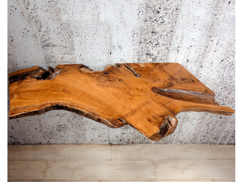 ROOT-7 Massive Tresenplatte / Waschtischplatte aus Teak Wurzelholz 130x55 | WOOD COLLECTION